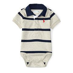 Ralph Lauren Cotton Rugby Bodysuit - Grey