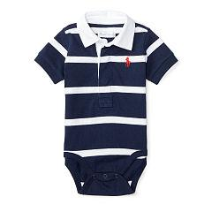 Ralph Lauren Cotton Rugby Bodysuit - Blue