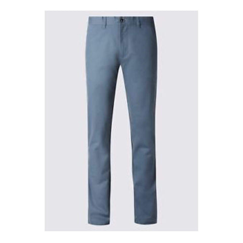 M&S North Coast Straight Fit Pure Cotton Blue Mens Chinos