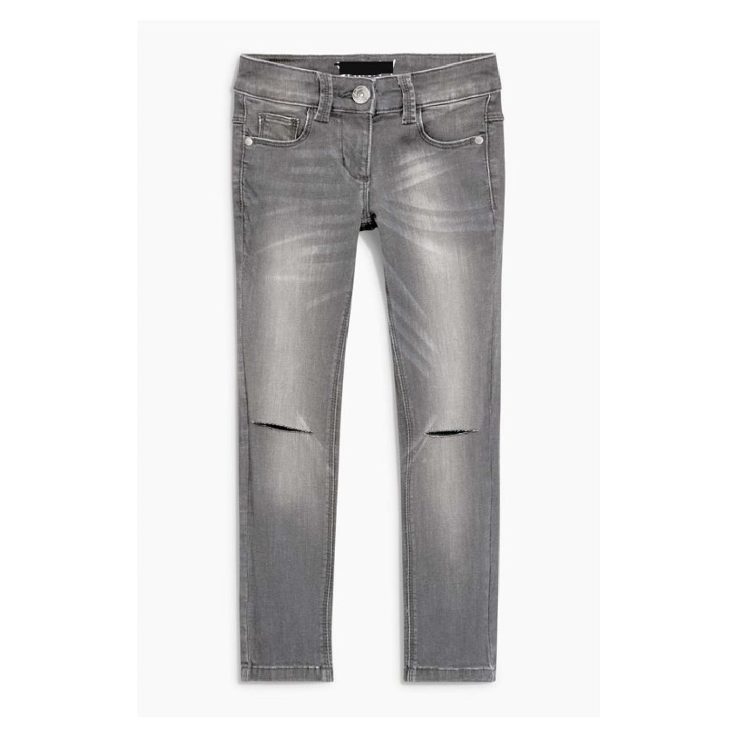 Next Girls Skinny Grey Knee Ripped Jeans