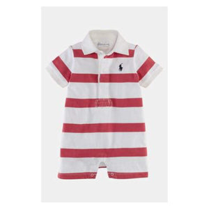 Polo by Ralph Lauren White with Red Stripe Romper - Stockpoint Apparel Outlet