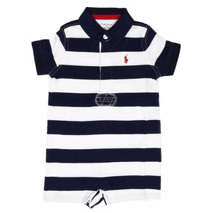 Polo by Ralph Lauren White with Navy Blue Collar and Stripes Romper - Stockpoint Apparel Outlet