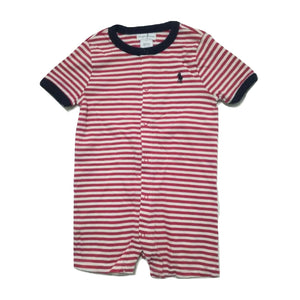 Polo by  Ralph Lauren  Navy Round Neck Red and White Striped Romper - Stockpoint Apparel Outlet