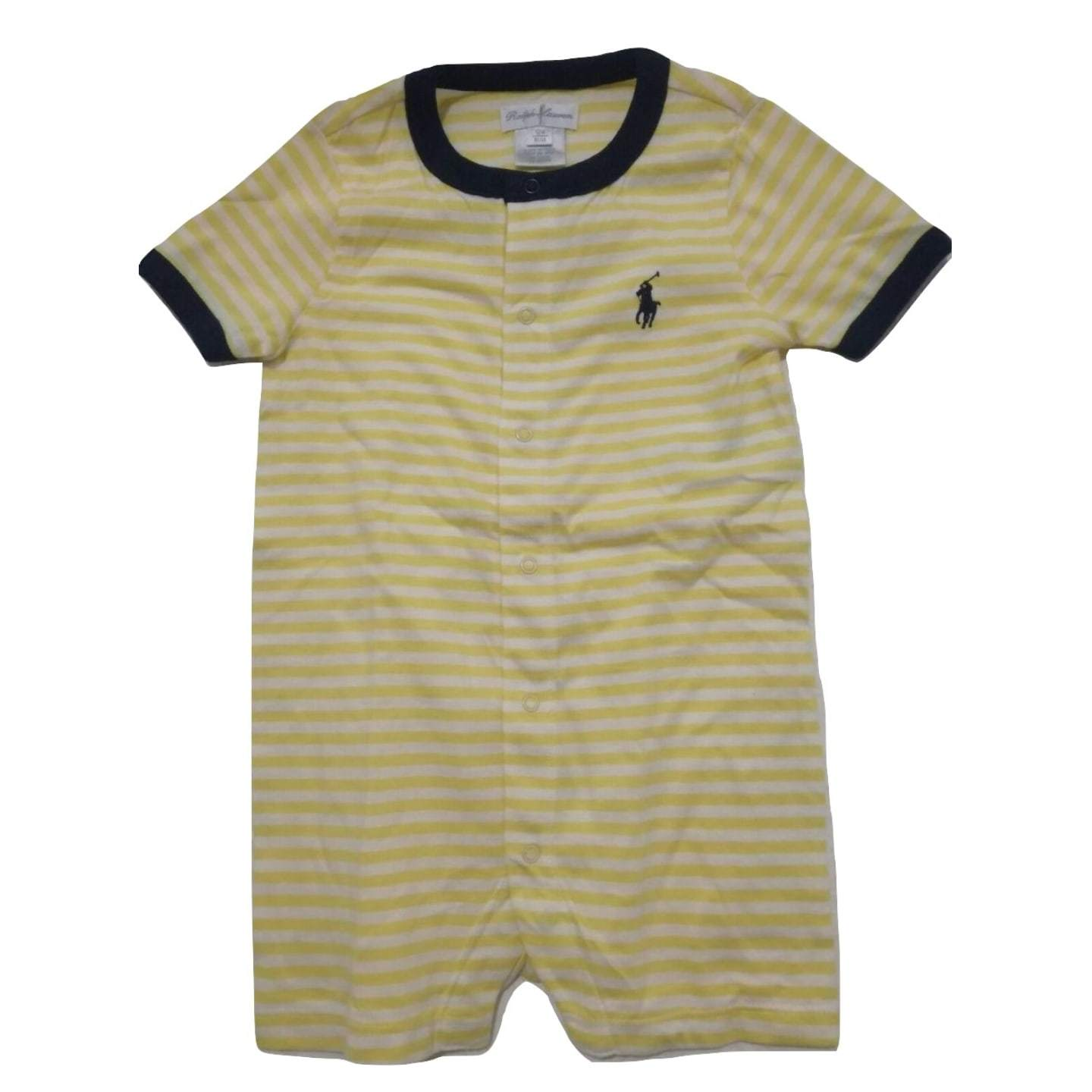 Polo by  Ralph Lauren  Navy round neck Yellow and White Striped Romper - Stockpoint Apparel Outlet