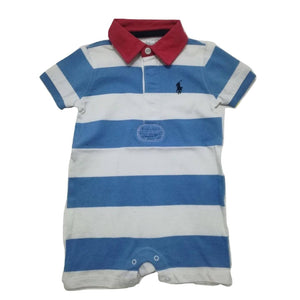 Polo by  Ralph Lauren Red collar with Blue and white  Stripe Romper - Stockpoint Apparel Outlet