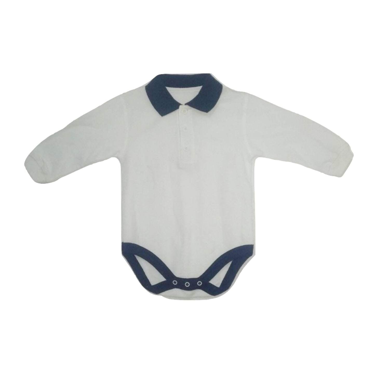 Longsleeve White with Navy Collar detail Rugby Bodysuit - Stockpoint Apparel Outlet