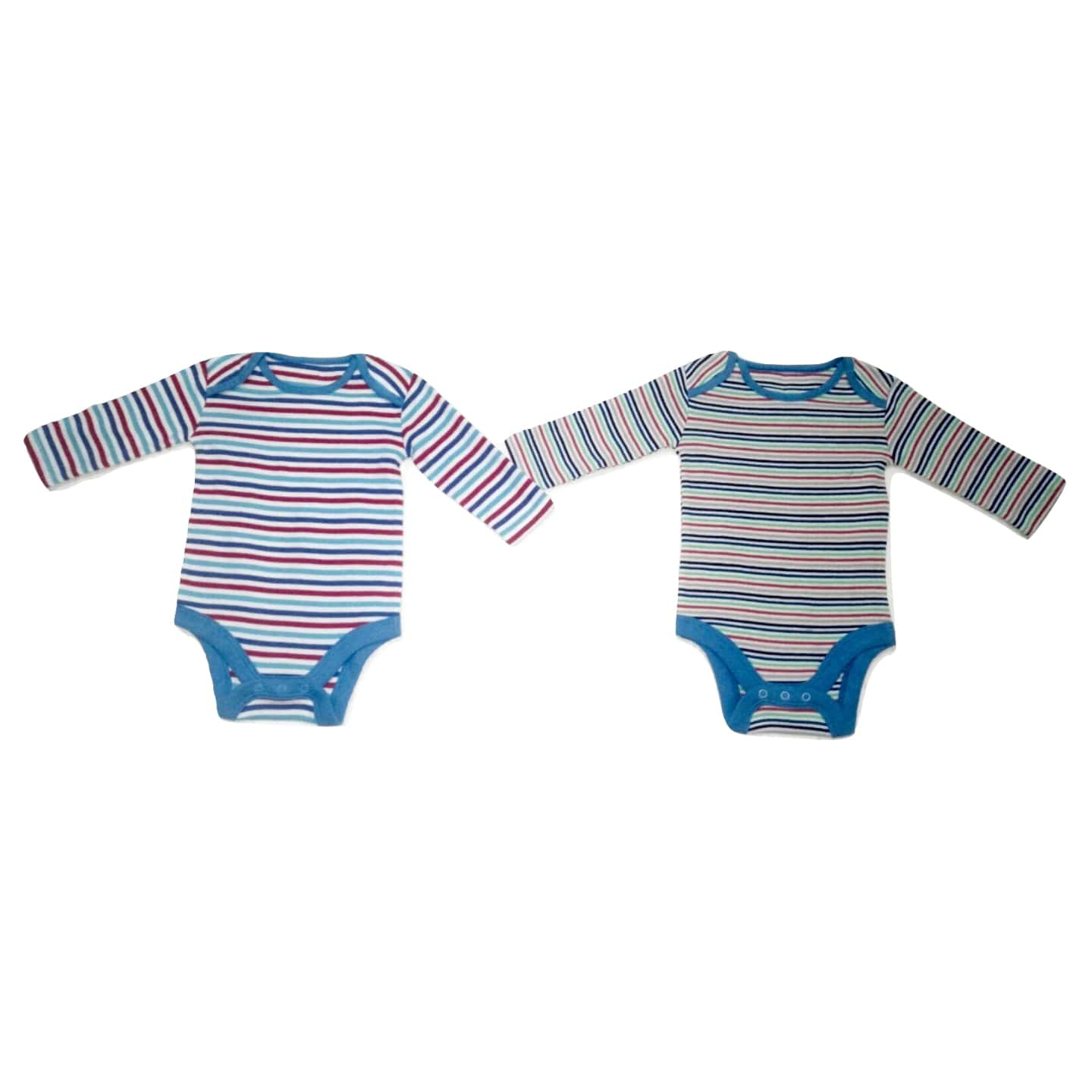 Blue Stripe Multicolour Detail 2 Pack Baby Boys Longsleeve Bodysuit
