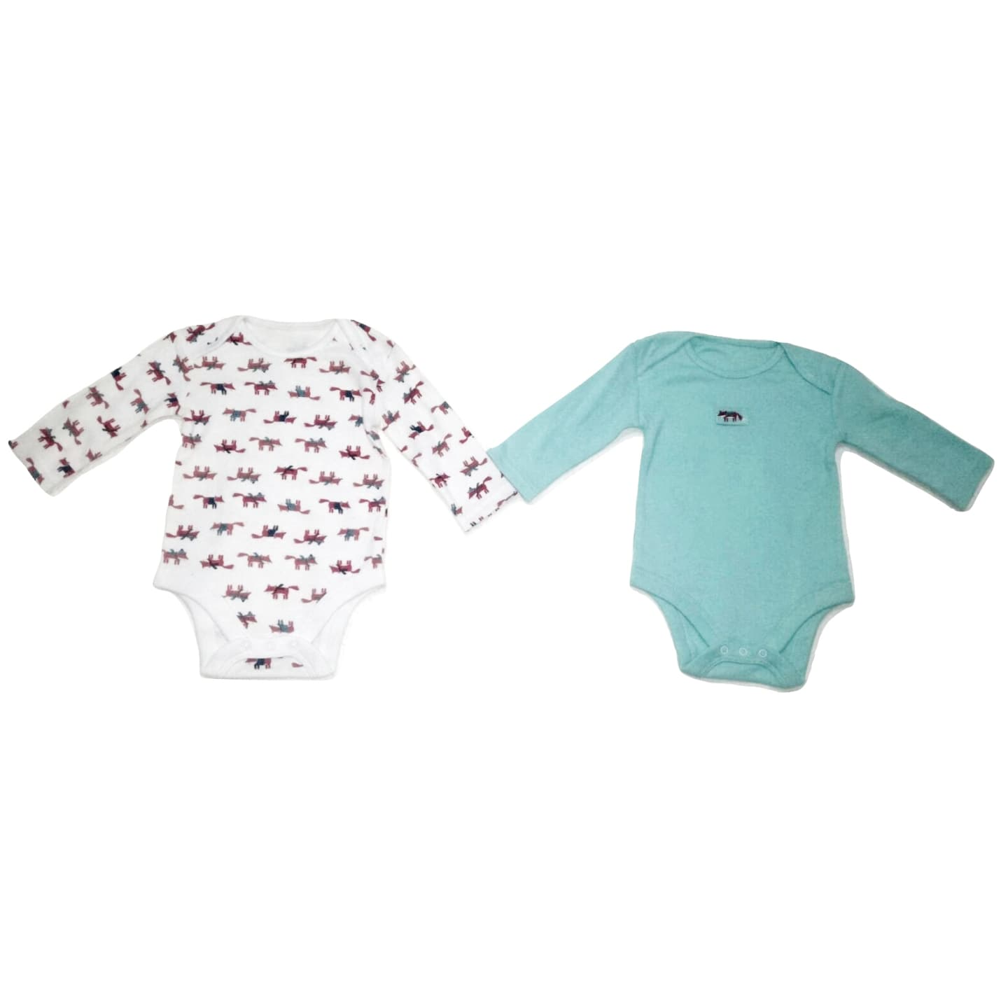 Red Fox design Longsleeve Bodysuit (White Multi & Turquoise) - 2 Piece