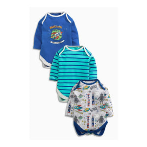 Next Spaceship 3 Piece Baby Boys Longsleeve Bodysuit