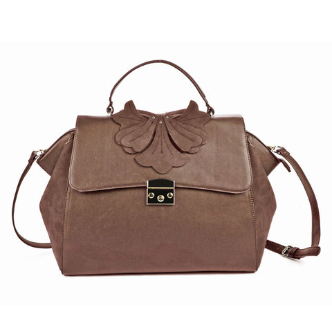 Sally Young Brown Orchid Lock Front Satchel bag