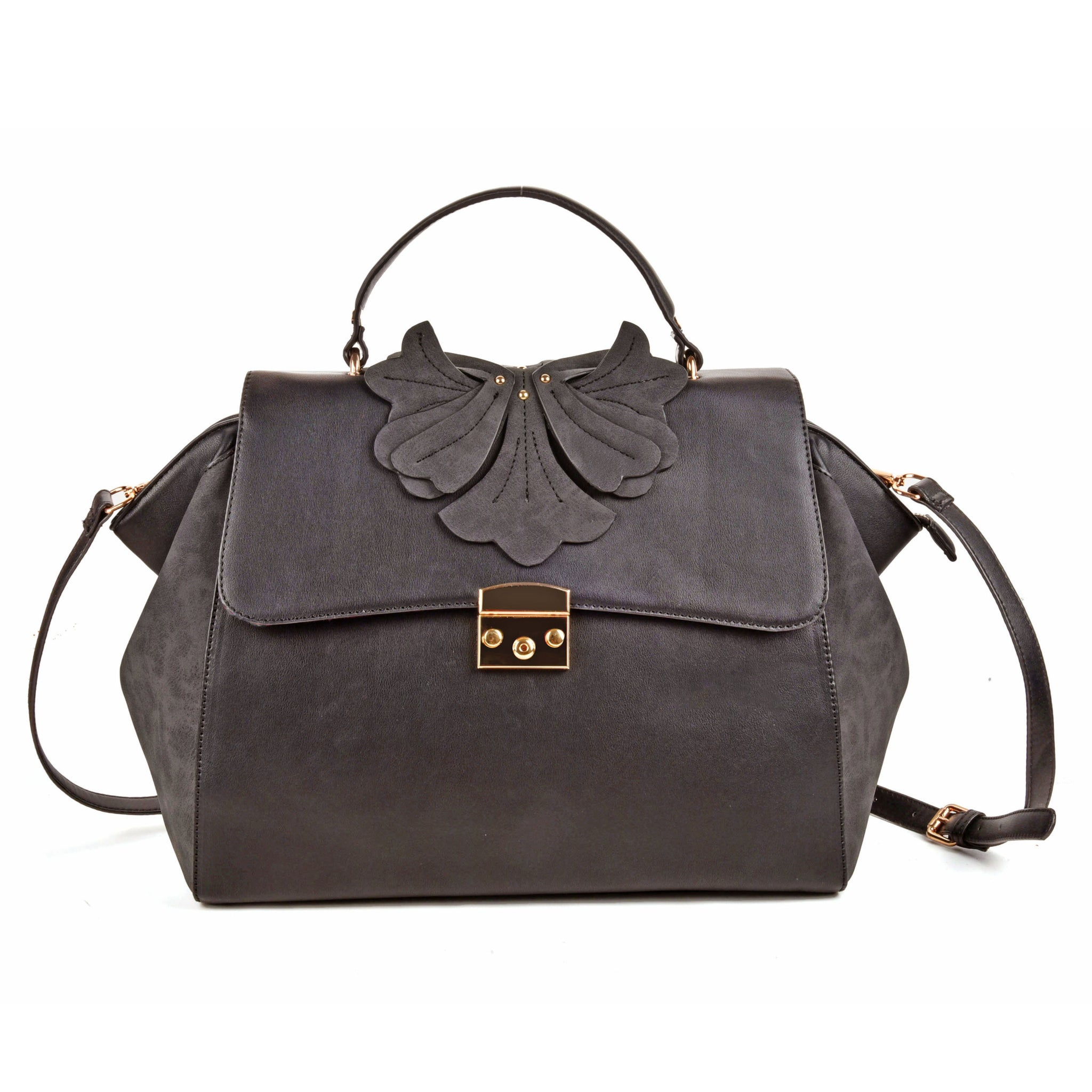 Sally Young Womens Grey Orchid Lock Front Satchel bag