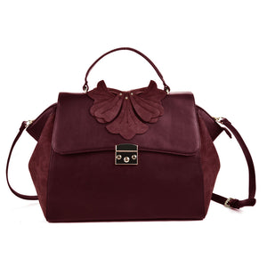 Sally Young  Red Orchid Lock Front Satchel bag