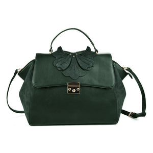 Sally Young Womens Green Orchid Lock Front Satchel bag