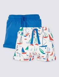 M&S Baby Boys Two Pack Pure Cotton Jersey Shorts
