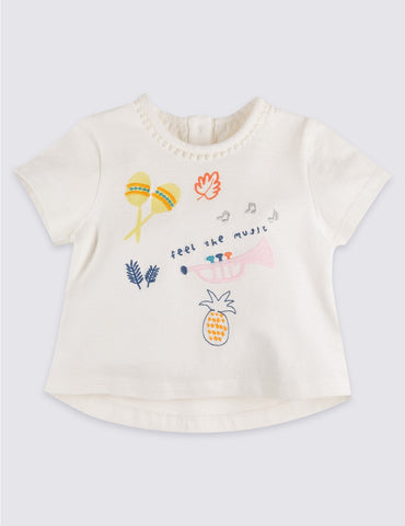 M&S Pure Cotton Applique Baby Girls T-Shirt
