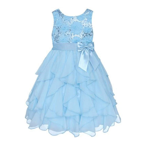 American Princess Girls Ice Blue Sequin Ruffle Dress