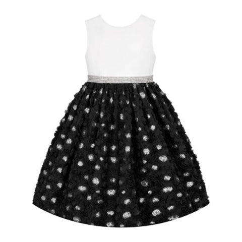 Couture Princess Girls Black Floral Sequin-Waist A-Line Dress