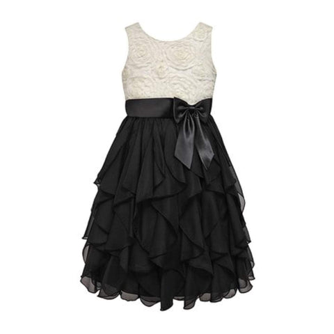 Couture Princess Girls Candlelight & Black Rosette Handkerchief Dress