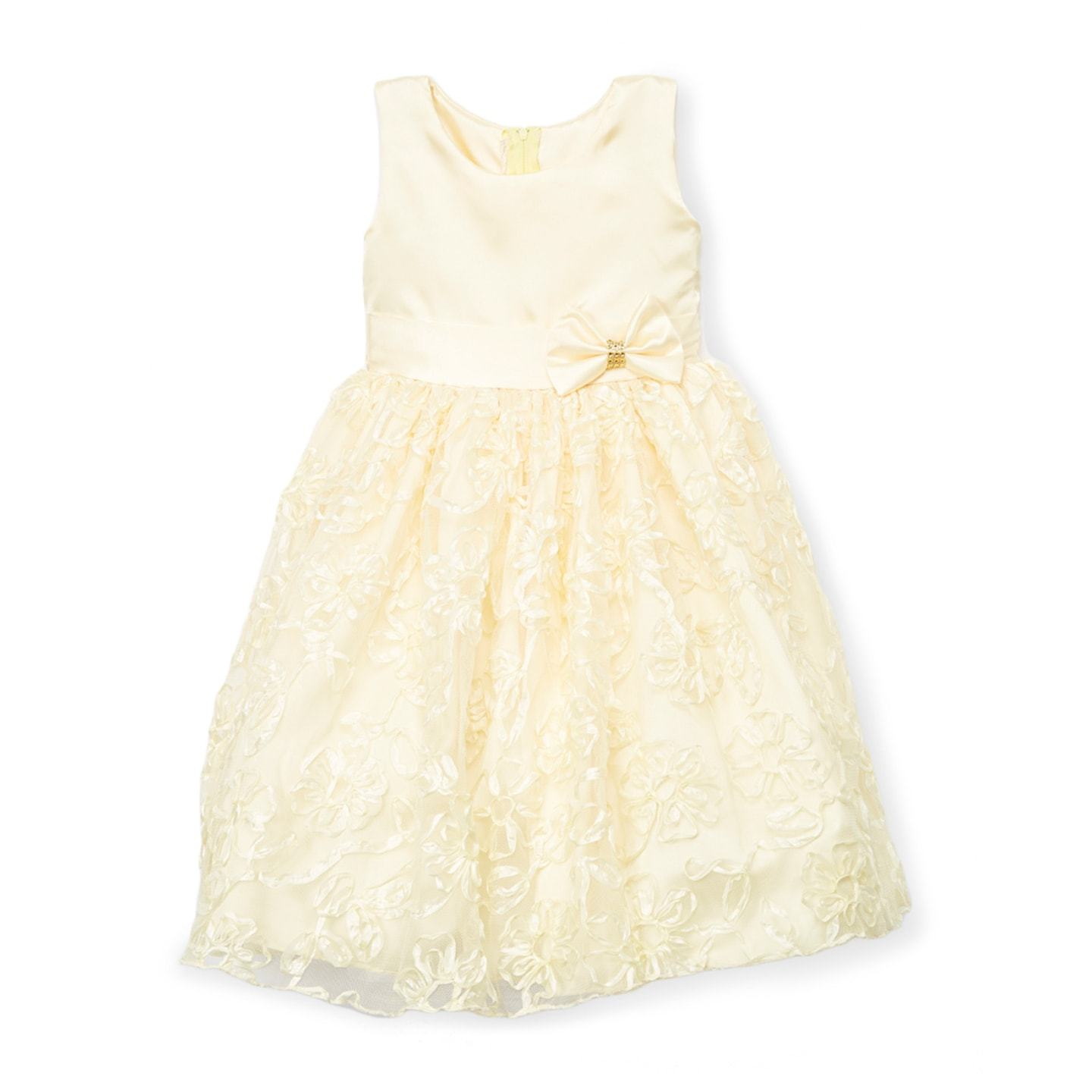 Kid Fashion Girls Yellow Floral A-Line Dress