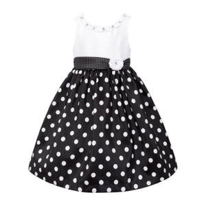 American Princess Girls Black & White Polka Dot Dress