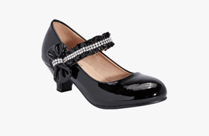 Truffle Collection Girls Black Belly Party Shoes