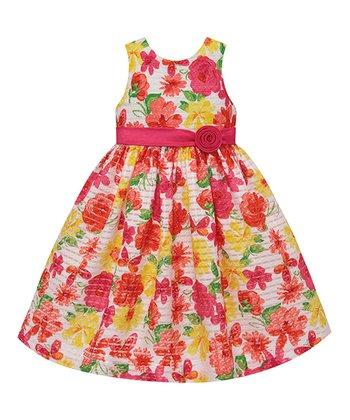 American Princess Baby Girls Coral & Yellow Floral A-Line Dress