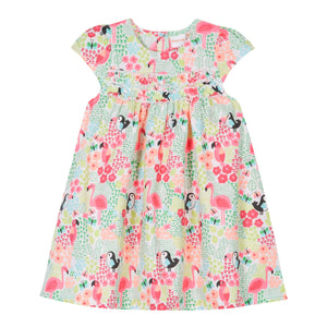 Bluezoo Baby Girls Pink Jungle Print Frill Detail Dress