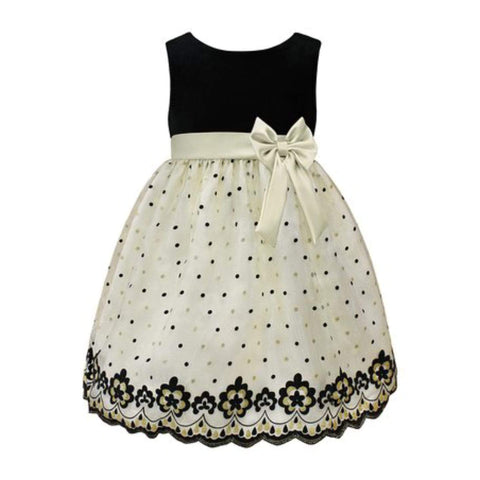 Mia Juliana Younger Girls Ivory & Black Bow-Accent Empire-Waist Dress