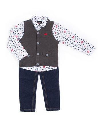 Boys Rock Baby Boys Grey Sweater Vest 3 Piece Set