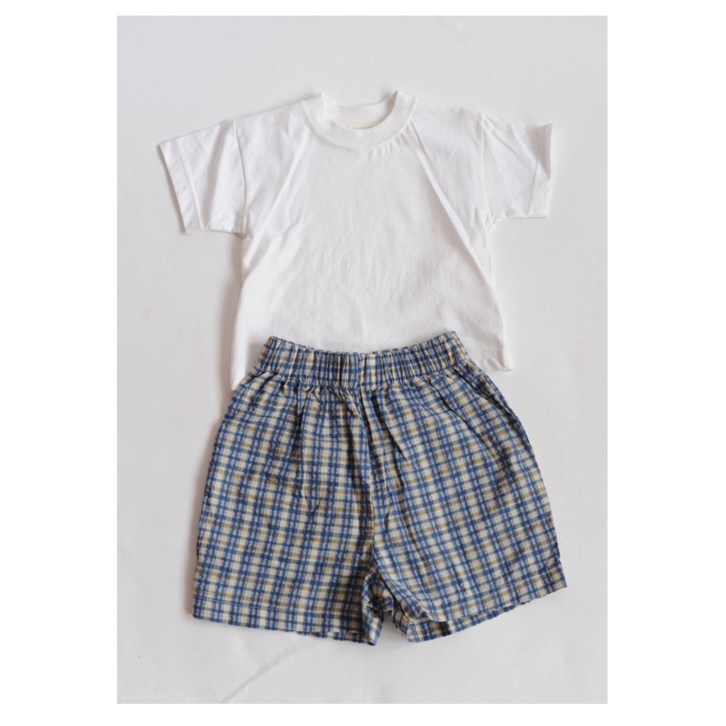 Baby Boys White Tees with Gingham design shorts