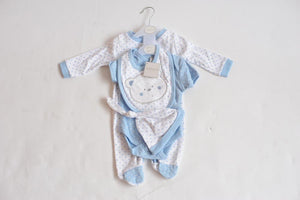 Aardvark Bear Blue Polka Dot Baby Boys Essential 5 Piece Set