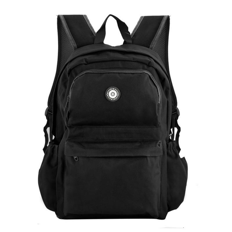 Black Fashion Zip Pocket Front Contrast Backpack