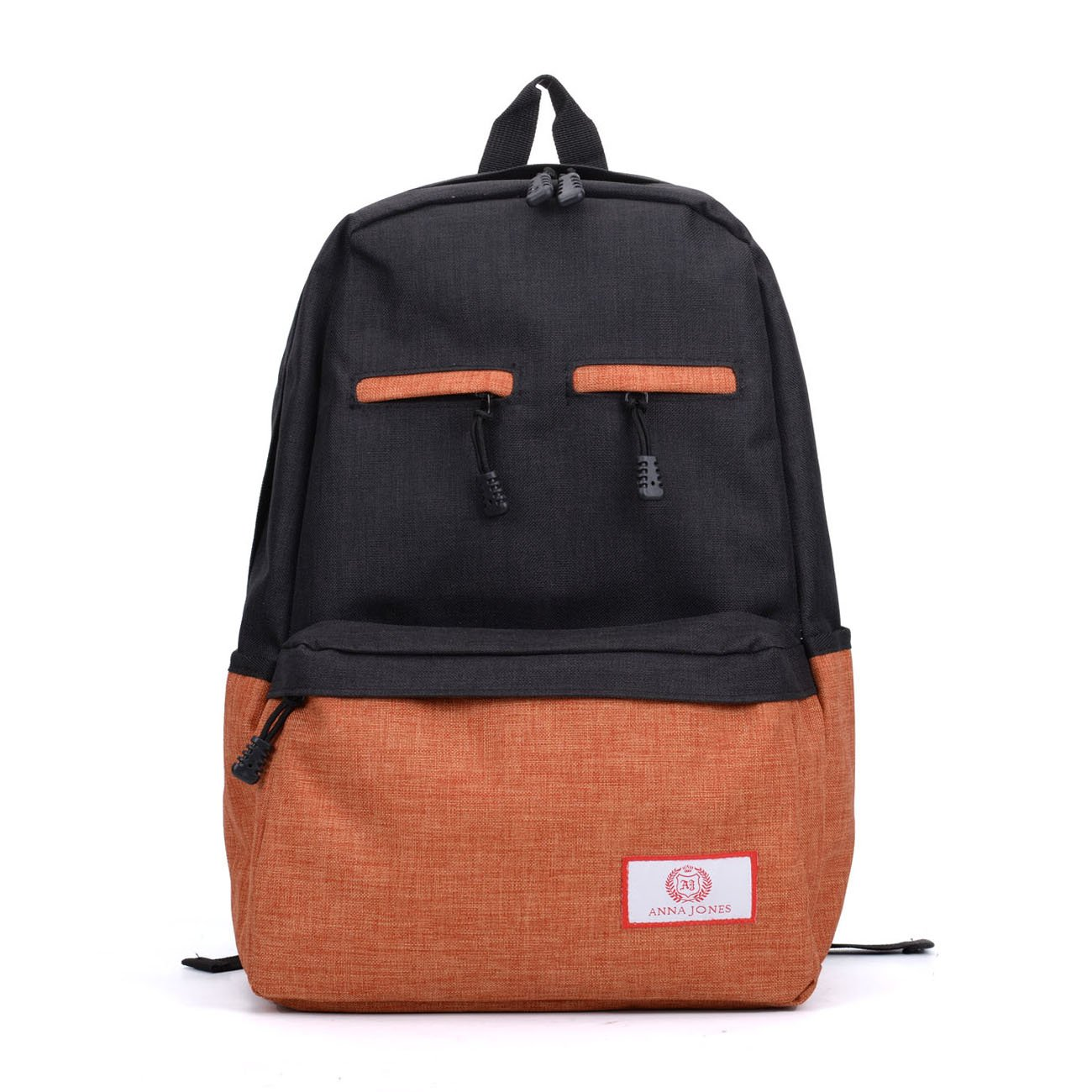 Brown Fashion Zip Pocket Front Contrast Backpack