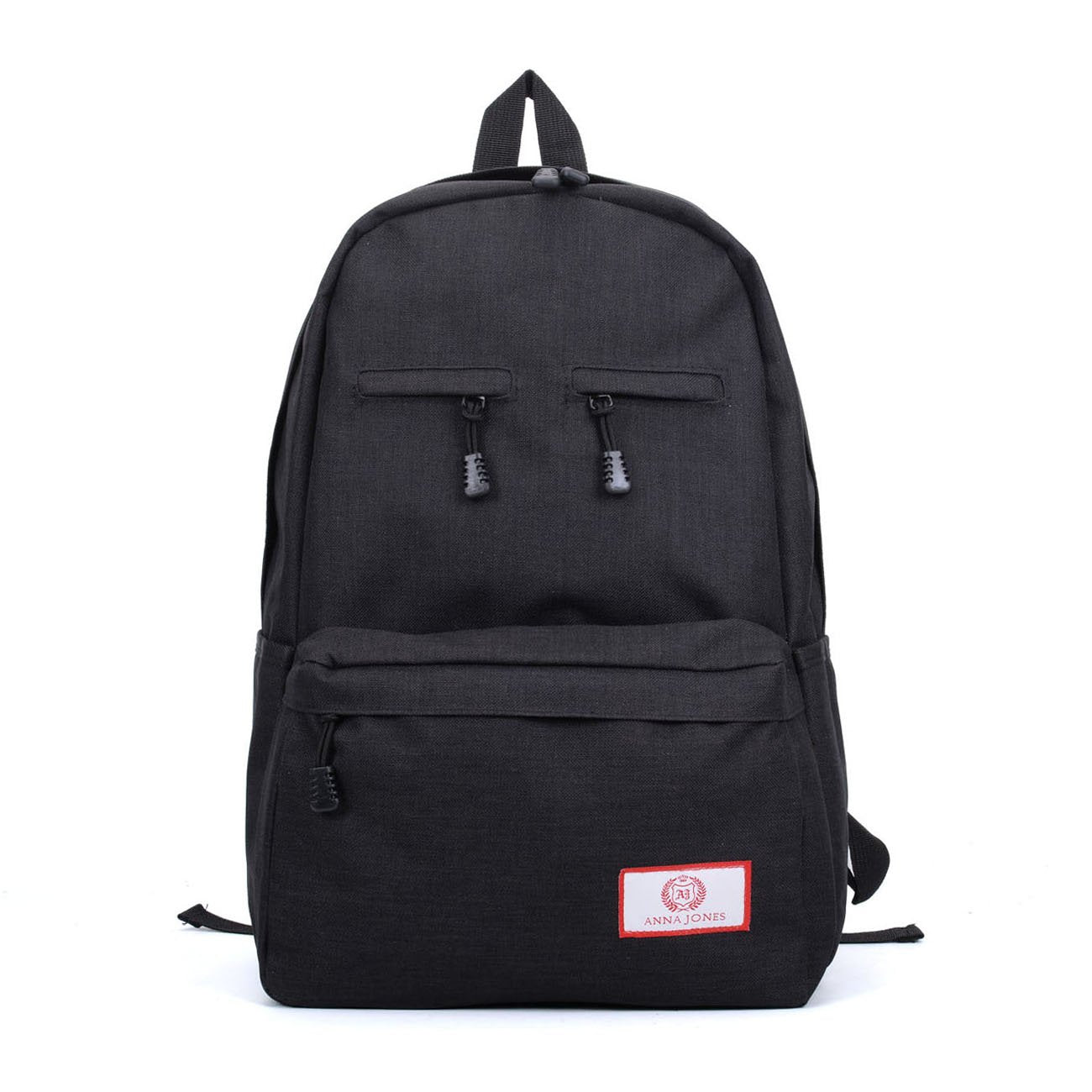 Black - Simple Solid Travel Oxford Backpack School Rucksack