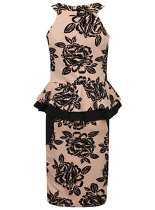 Quiz Floral Velour Print Peplum Womens Dress