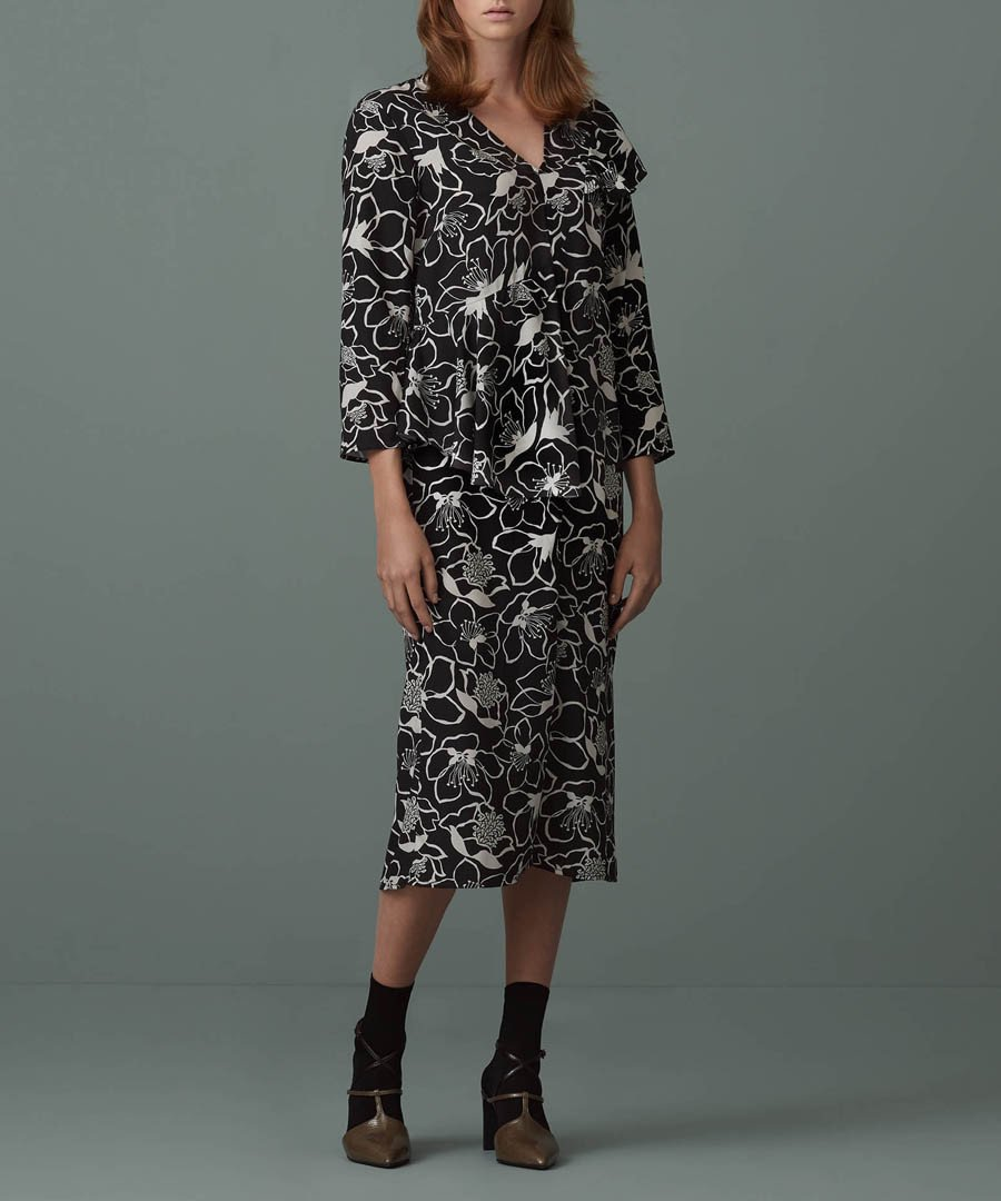 Finery Clemence Black & White Floral Womens Dress