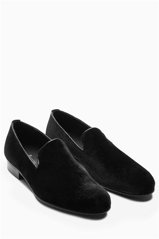 Next Hell for Leather Mens Black Velvet Loafer
