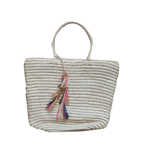 Taupe Raffia Shopper Bag