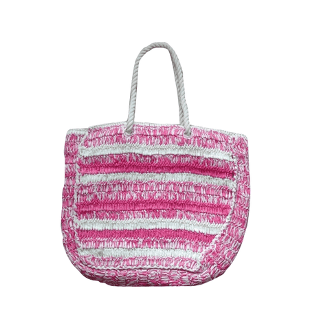 Pink Taupe Stripe Shopper Bag