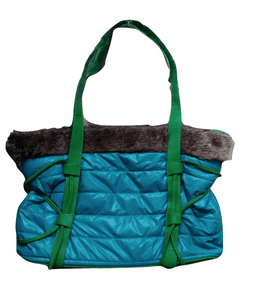 Green with Fur Shopper Bag