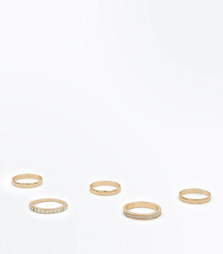 New Look 5 Pack Gold Diamanté Rings - Stockpoint Apparel Outlet