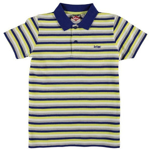 Lee Cooper Stripe Polo Junior Boys - Royal/Yellow/White