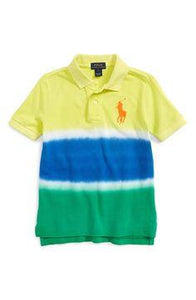 Ralph Lauren Yellow/Blue Dip Dyed Cotton Mesh Boys Poloshirt