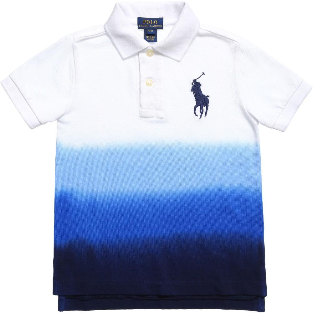 Ralph Lauren Baby Boys White/Blue Dip Dyed Cotton Mesh Polo