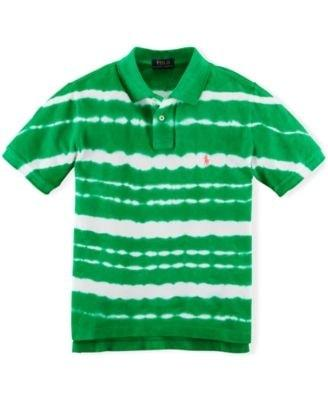 Ralph Lauren Boys Green/White Dip Dyed Cotton Mesh Polo
