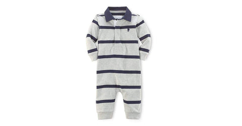 Ralph Lauren Grey Striped Cotton Boys Rugby Coverall