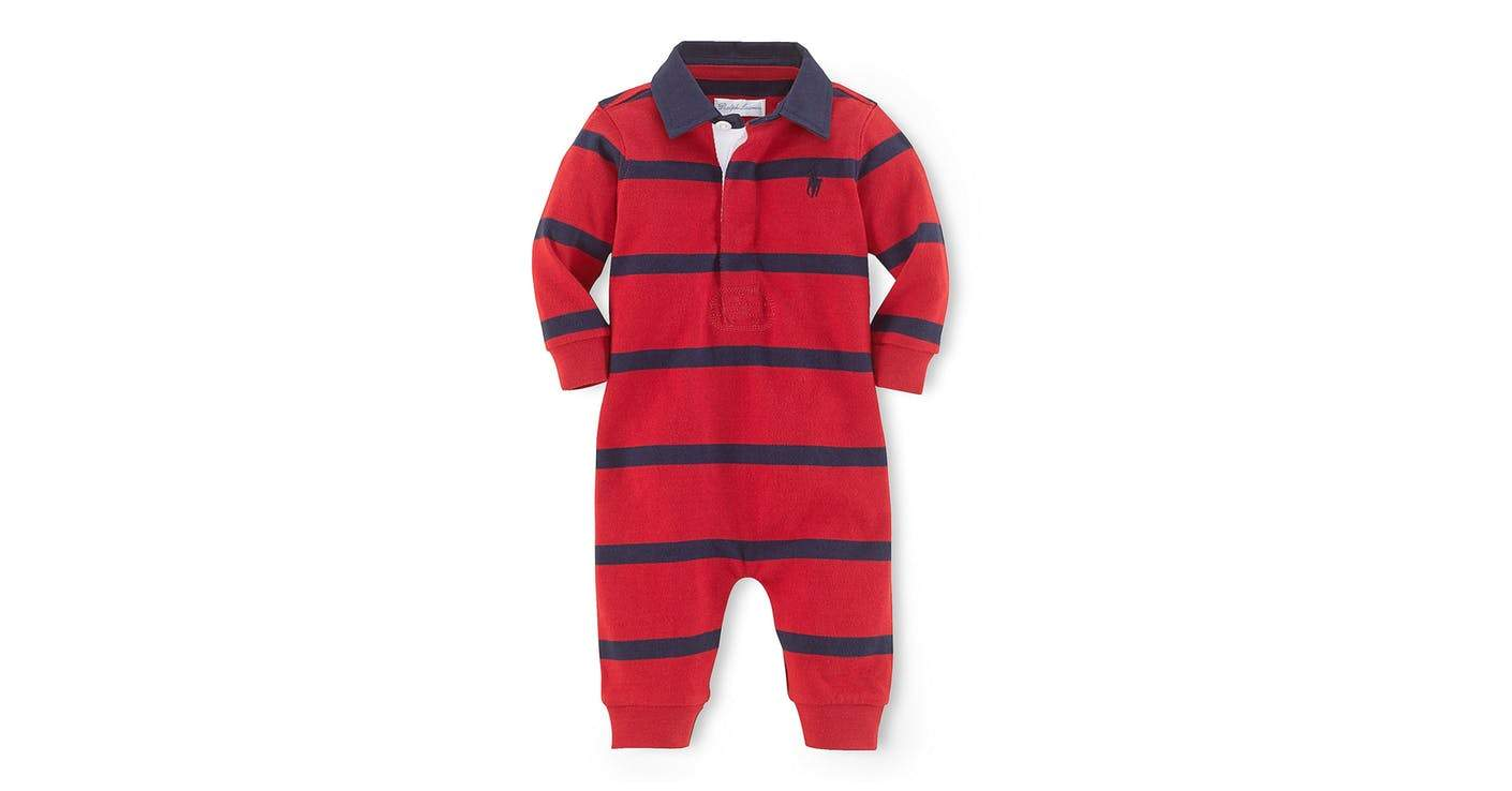 Ralph Lauren Red Striped Cotton Boys Rugby Coverall