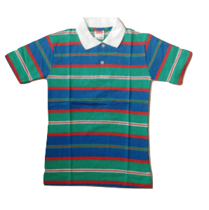 Boys Green Multi Striped Polo Shirt