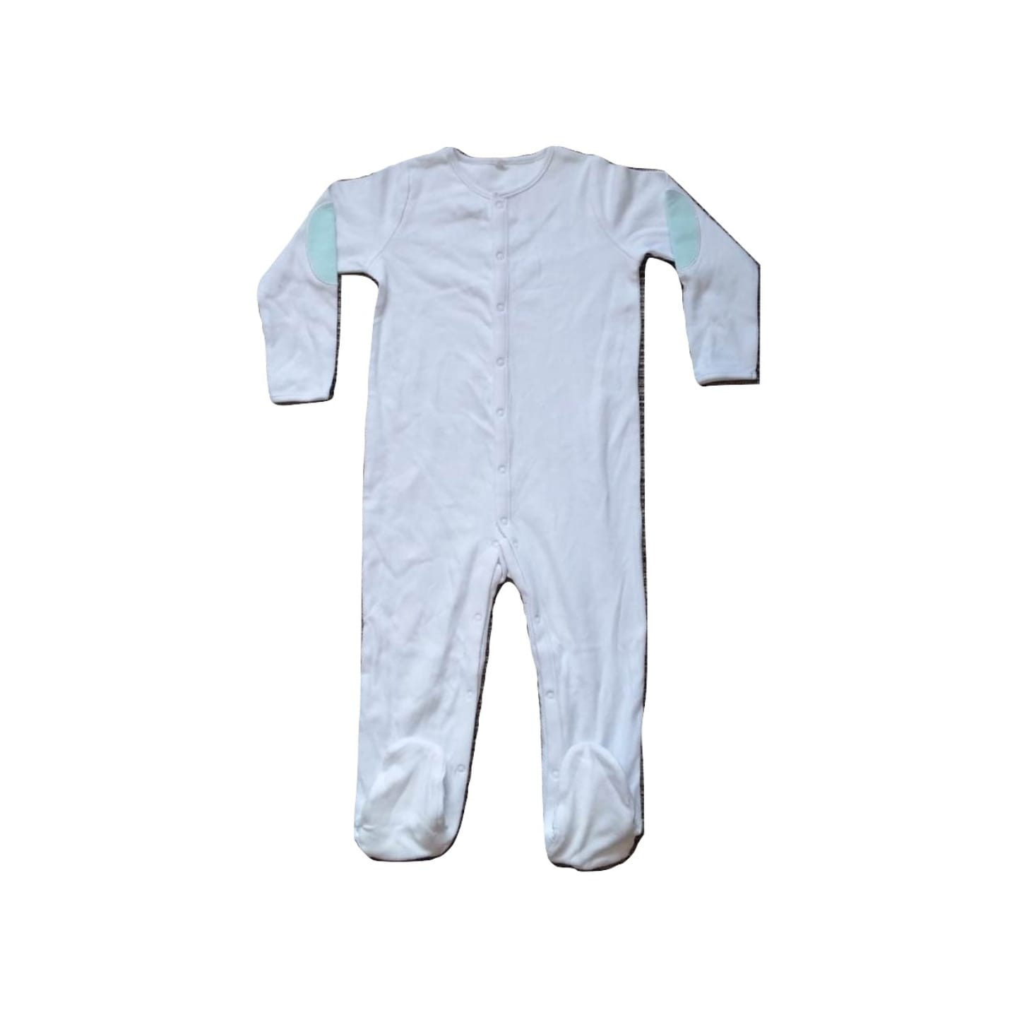 Baby Boys White with Blue Detail Sleepsuit