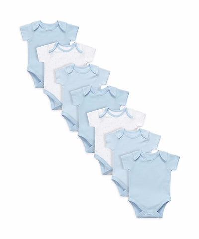 Mothercare My First Baby Boys Blue 7 Pack Bodysuits